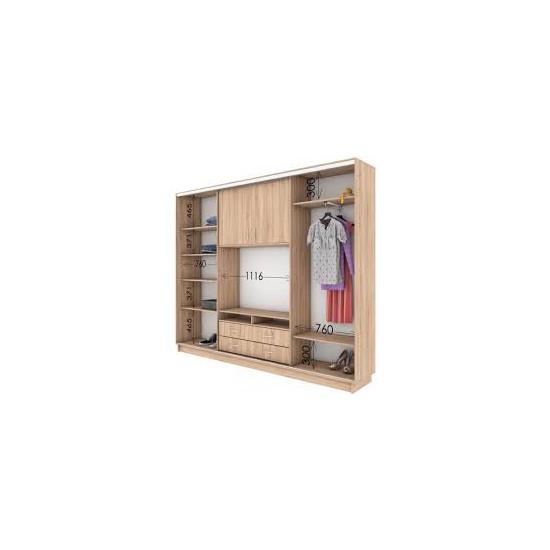 Универсальный шкаф купе с нишей под ТВ (2400)
